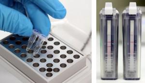 Photo 1 A gauche : bloc chauffant pour l'amplification d'ADN. A droite : lecture sur bandelettes (gauche : test positif révélant la présence de la bactérie, droite : test négatif).